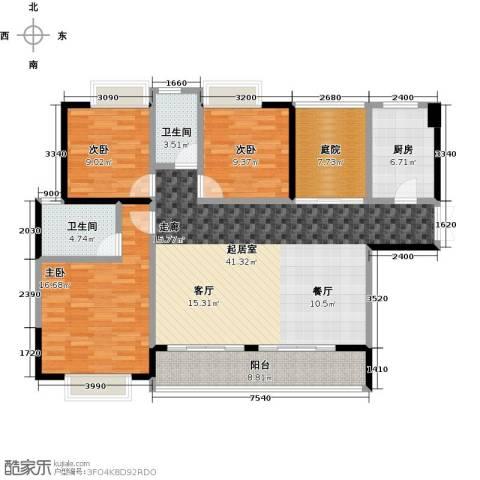 新地东方明珠3室0厅2卫1厨135.00㎡户型图