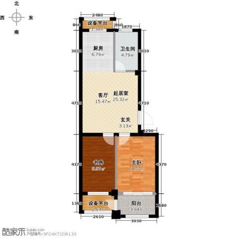 盛德山水绿城2室0厅1卫0厨69.00㎡户型图