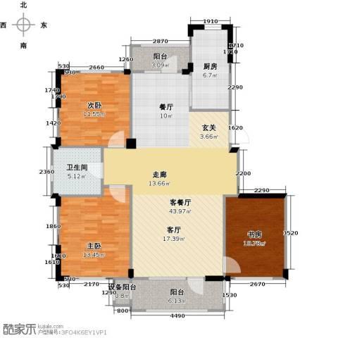 中海御湖熙谷3室1厅1卫1厨117.00㎡户型图