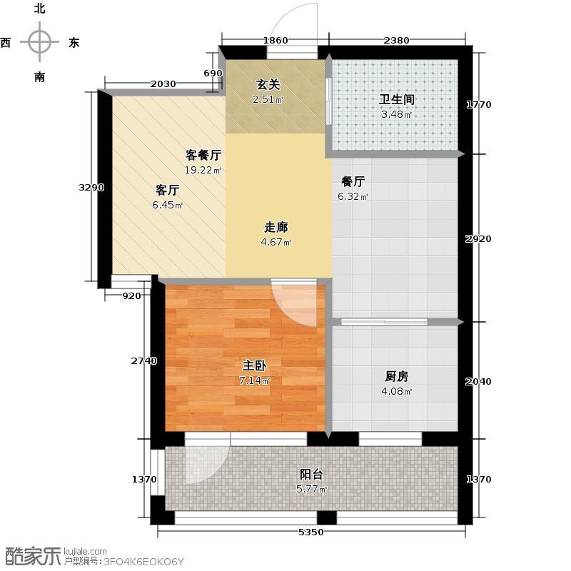 香水湾57.00㎡J户型 一室二厅一卫户型1室2厅1卫