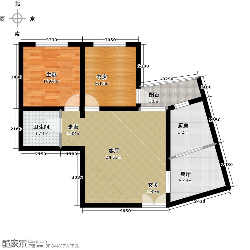时代天骄84.38㎡2#B户型-两室两厅一卫户型