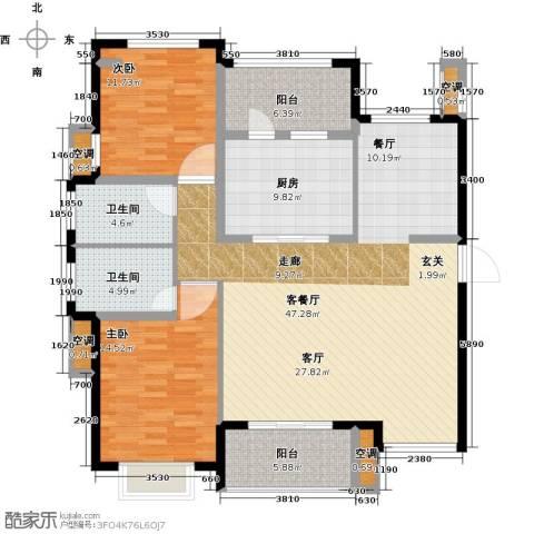 雅戈尔太阳城缘邑2室1厅2卫1厨153.00㎡户型图
