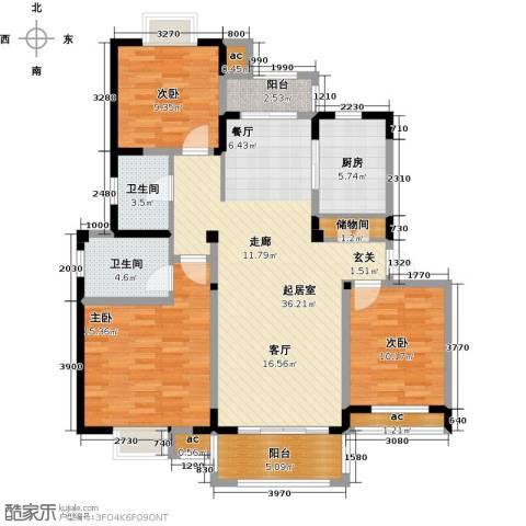 越湖家天下3室0厅2卫1厨111.00㎡户型图