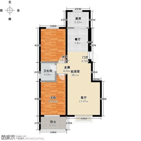 水岸金城2室0厅1卫1厨112.00㎡户型图