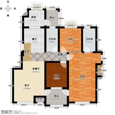 隆都翡翠湾3室1厅2卫1厨148.00㎡户型图