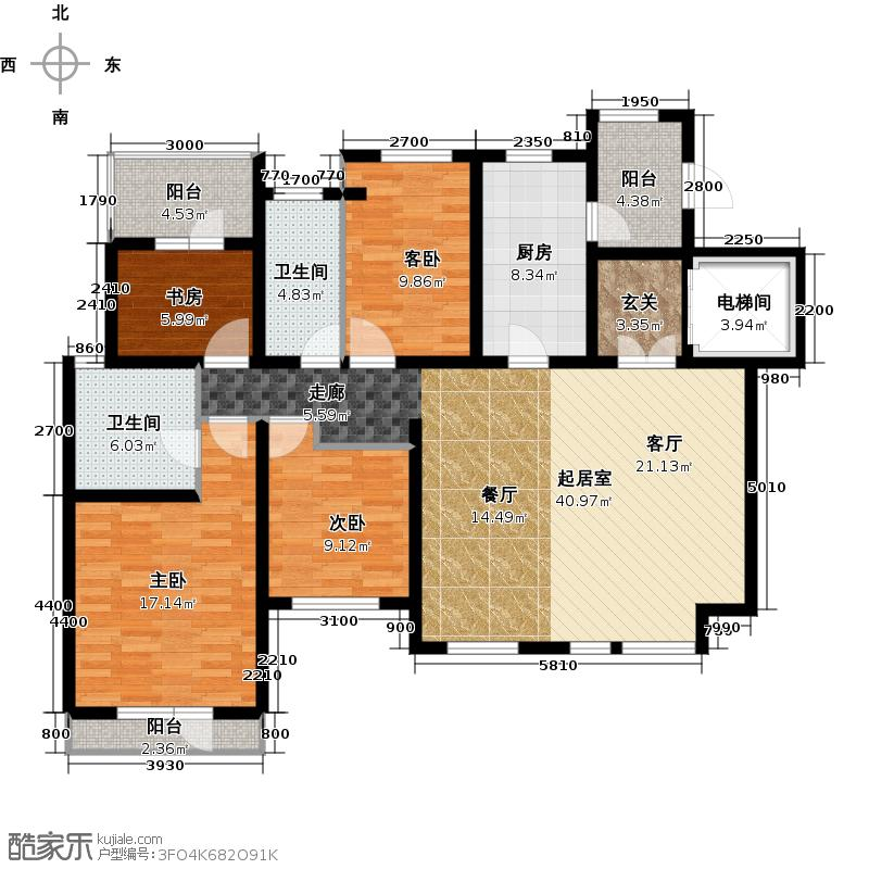 金地艺境142.00㎡5层洋房C-2户型 四室两厅两卫户型4室2厅2卫