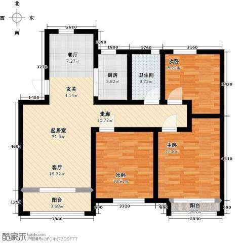 五洲太阳城3室0厅1卫1厨89.00㎡户型图