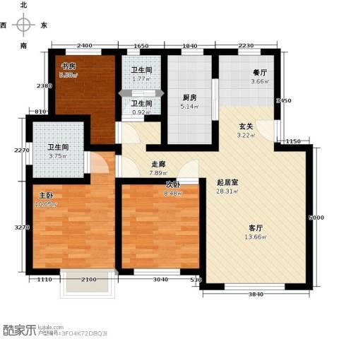 五洲太阳城3室0厅3卫1厨89.00㎡户型图