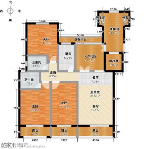 东方今典3室0厅2卫1厨142.44㎡户型图