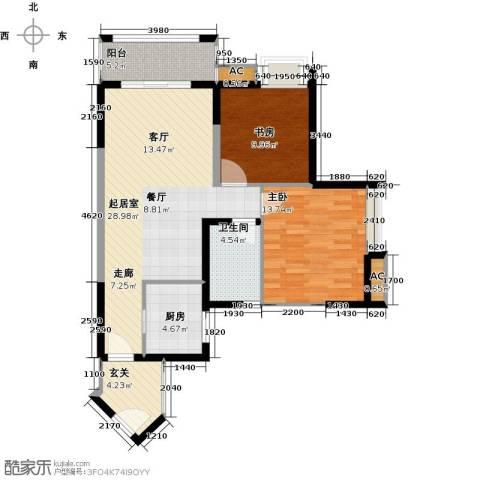 翰城国际2室0厅1卫1厨84.00㎡户型图