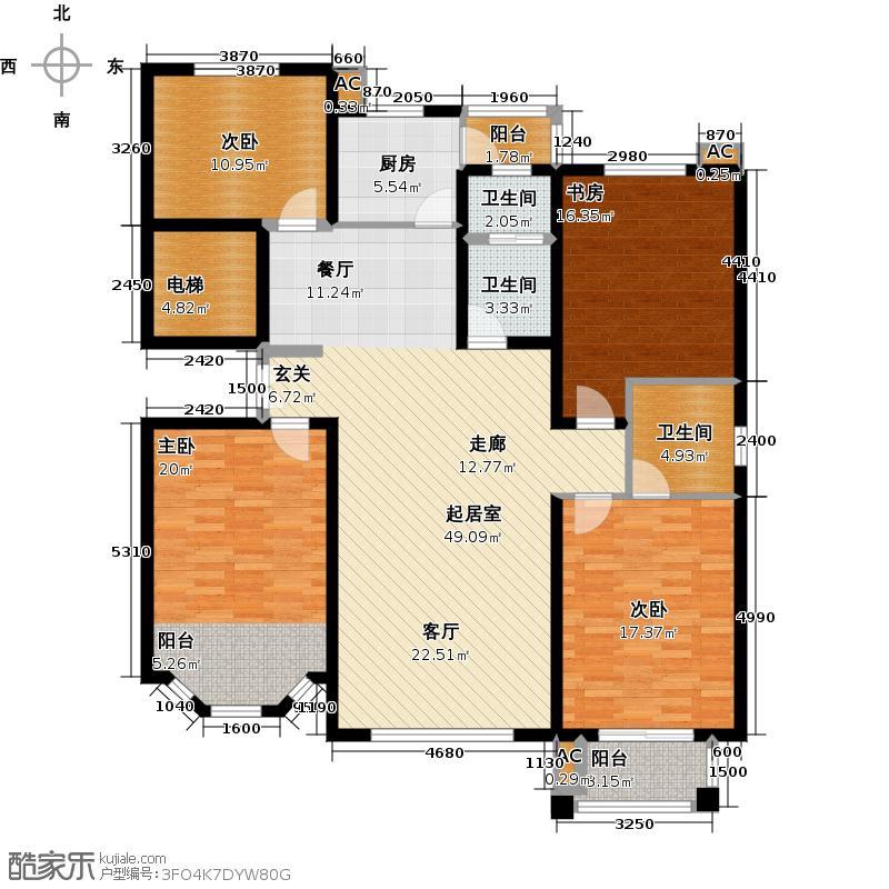 五洲太阳城-T户型4室3卫1厨