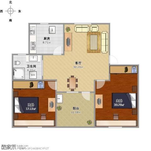 香港花园2室1厅1卫1厨125.00㎡户型图
