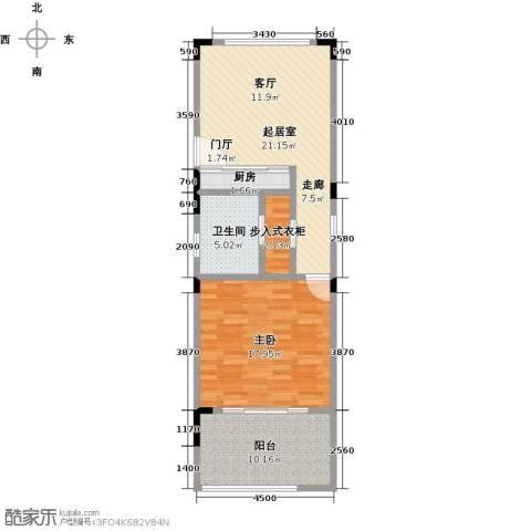 中信庐山西海1室0厅1卫1厨66.00㎡户型图