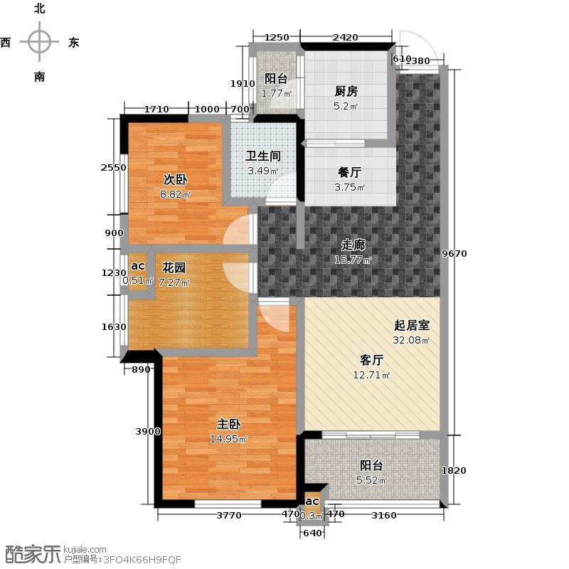 珠江郦城92.70㎡D1户型3室2厅1卫