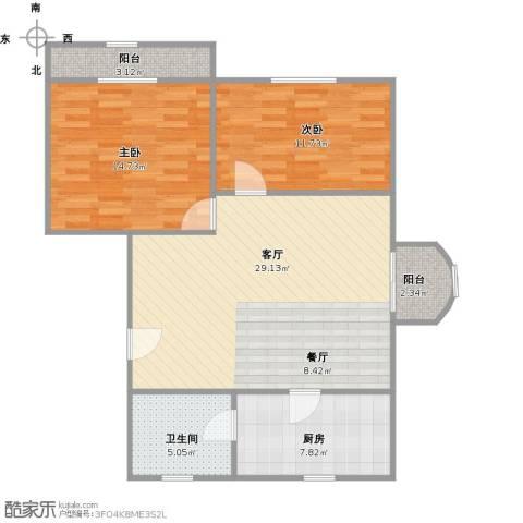 控江绿苑2室1厅1卫1厨99.00㎡户型图