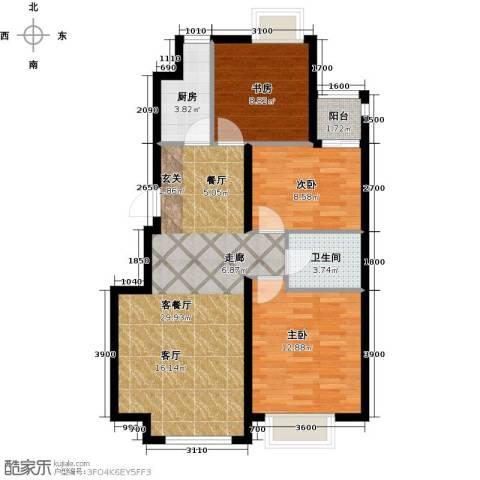 隆都翡翠湾3室1厅1卫1厨98.00㎡户型图