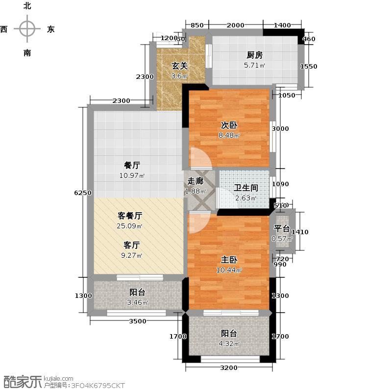 中核世纪广场91.00㎡C3a户型两室两厅一卫户型2室2厅1卫