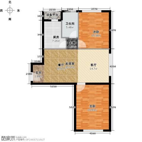 中信海港城2室0厅1卫1厨97.00㎡户型图