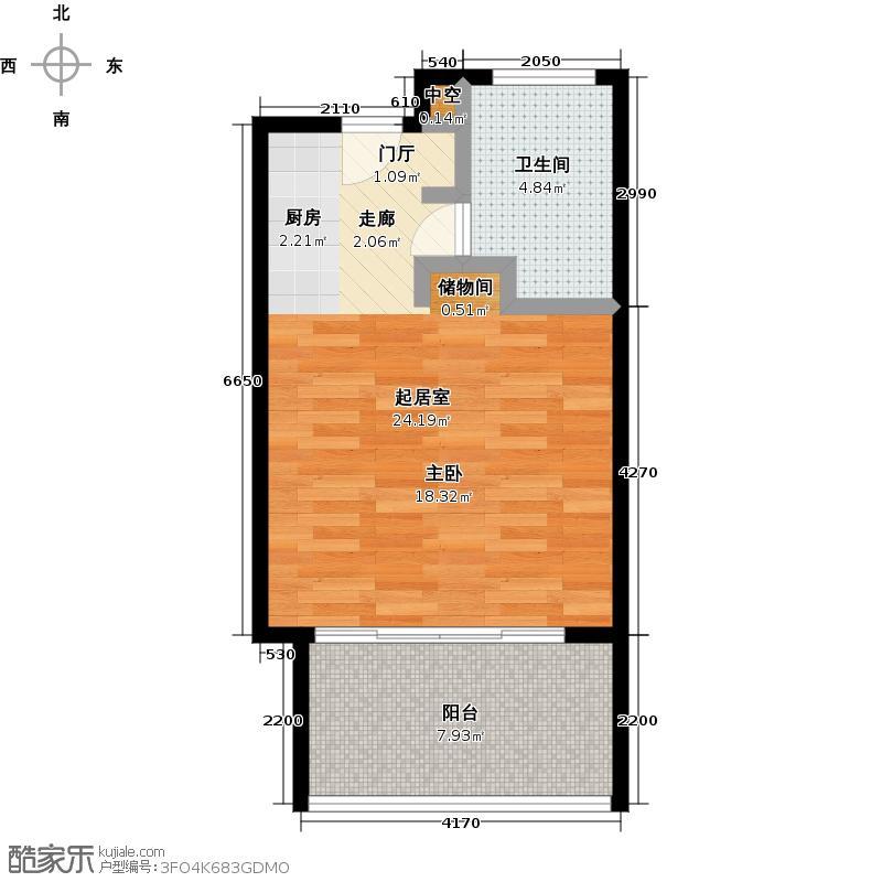 中信庐山西海41.80㎡一期桃花里公寓G4户型1室1厅1卫