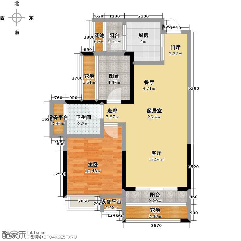 人和莱茵花语68.00㎡2#105号房户型1室2厅1卫