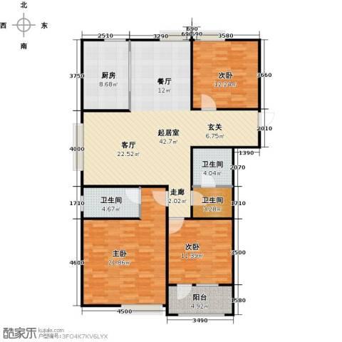 八里庄・盛世华园3室0厅3卫1厨152.00㎡户型图