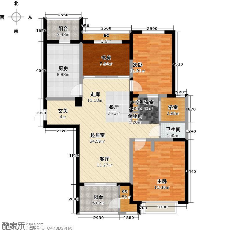 北极星花园111.00㎡B3户型3室2厅1卫户型3室2厅1卫
