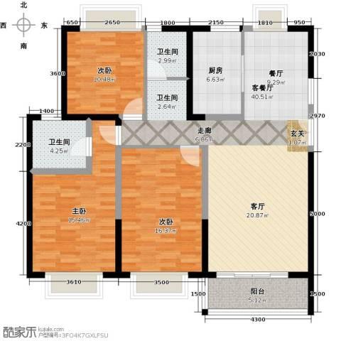 嘉逸岭湾3室1厅2卫1厨144.00㎡户型图