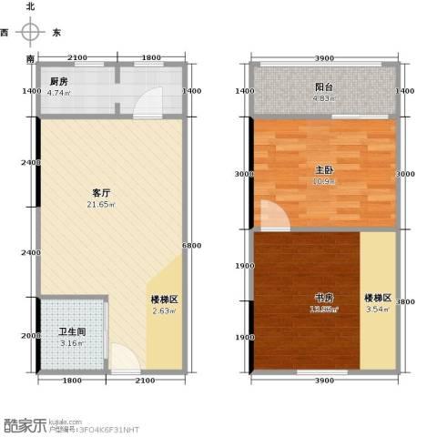 广天国际公寓2室1厅1卫1厨80.00㎡户型图