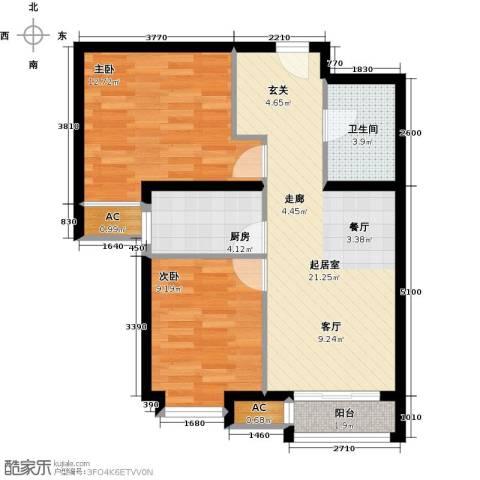 呼和浩特永泰城2室0厅1卫1厨79.00㎡户型图