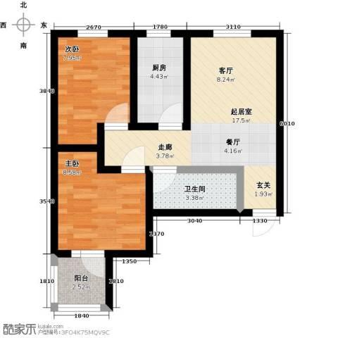 龙潭湖凤凰山庄2室0厅1卫1厨67.00㎡户型图