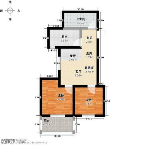 龙潭湖凤凰山庄2室0厅1卫1厨55.00㎡户型图