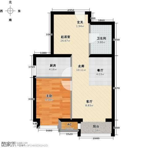 呼和浩特永泰城1室0厅1卫1厨64.00㎡户型图