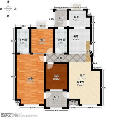 隆都翡翠湾3室1厅2卫1厨145.00㎡户型图