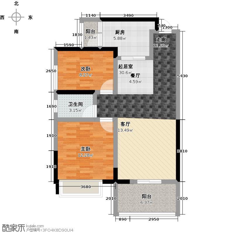 新地东方明珠89.00㎡1#三房户型2室2厅1卫户型2室2厅1卫