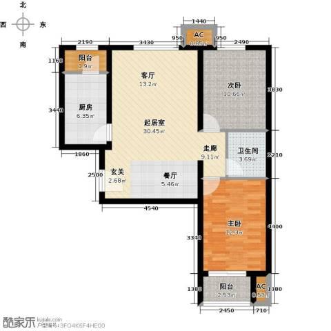 呼和浩特永泰城2室0厅1卫1厨99.00㎡户型图
