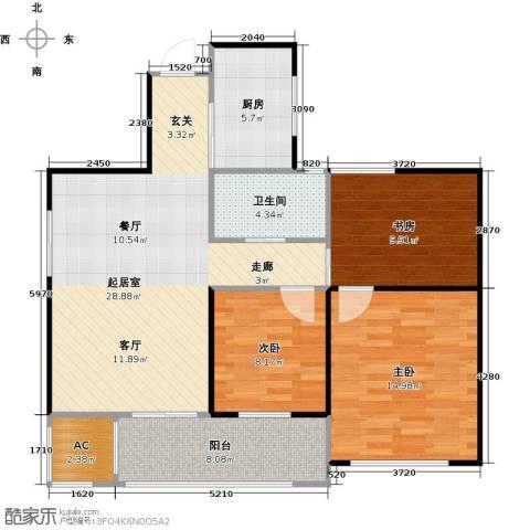 万联凤凰城3室0厅1卫1厨90.00㎡户型图