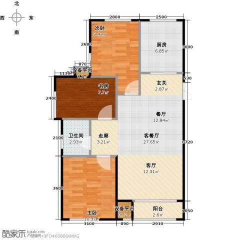 海航YOHO湾3室1厅1卫1厨97.00㎡户型图