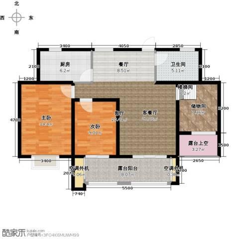 翰林世家2室1厅1卫1厨95.00㎡户型图