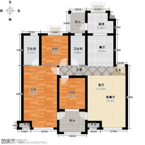 隆都翡翠湾3室1厅2卫1厨149.00㎡户型图