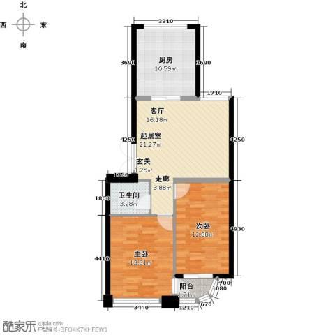 怡景湾壹号2室0厅1卫1厨72.00㎡户型图