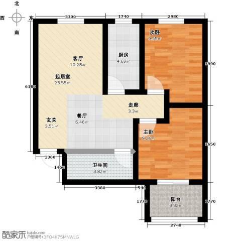 龙潭湖凤凰山庄2室0厅1卫1厨77.00㎡户型图