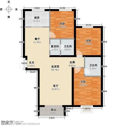 融域1343室0厅2卫1厨128.00㎡户型图