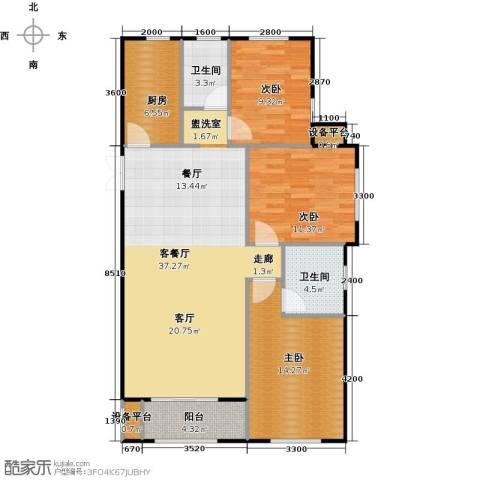 海航YOHO湾3室1厅2卫1厨125.00㎡户型图