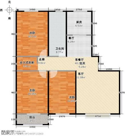 丽景盛园3室1厅1卫1厨111.00㎡户型图