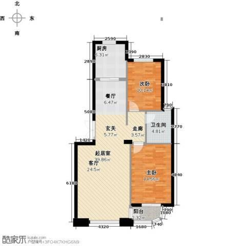怡景湾壹号2室0厅1卫1厨87.00㎡户型图