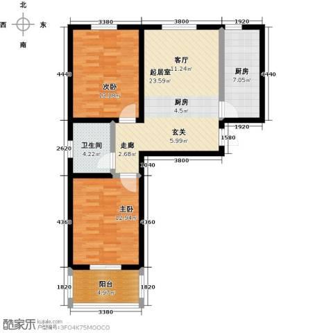 龙潭湖凤凰山庄2室0厅1卫1厨72.00㎡户型图