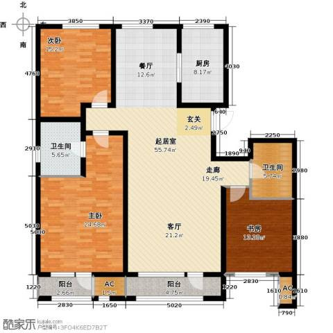 新华联雅园3室0厅2卫1厨157.00㎡户型图