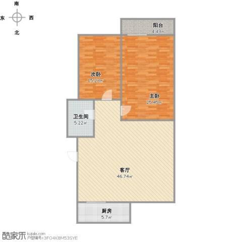新馨家园2室1厅1卫1厨136.00㎡户型图