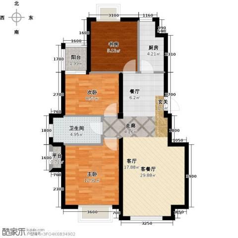 隆都翡翠湾3室1厅1卫1厨103.00㎡户型图