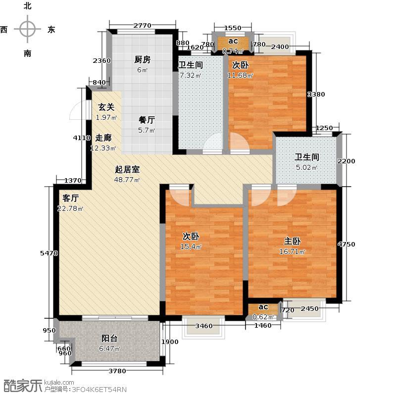 景悦星湖129.00㎡J户型3室2厅2卫
